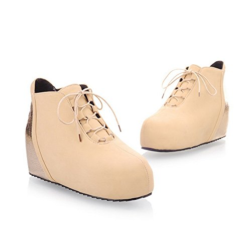 AmoonyFashion Toe Apricot Boots Heels Assorted Low Short B Colors M PU US Plush Round 5 Closed with Girls Bandage qrntr6