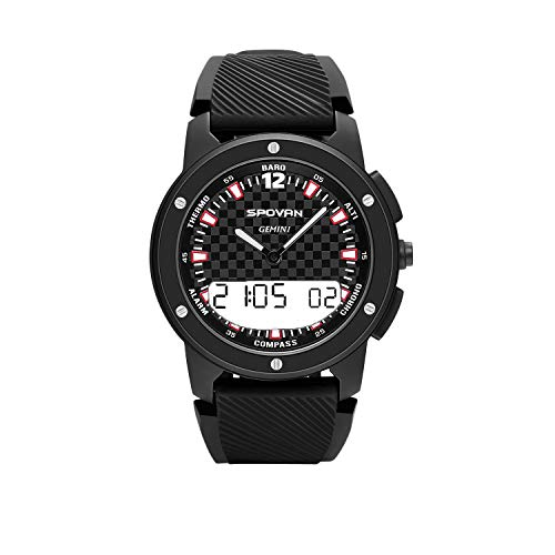 RYRYBH Spovan New Smart Sports Watch Compass Altimeter Dual Display Mechanical Movement Watch Long Standby Smart Watch (Color : Black-White Display)