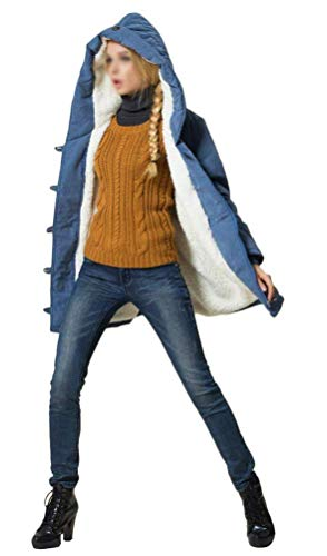 Con Colores Fit Grueso Abrigos Parka Invierno Sólidos Botonadura Elegante Larga Fashion Blau Terciopelo Capa Manga Mujer Capucha Cordón Slim Mujeres Chaqueta Otoño Casuales Vintage IF51x