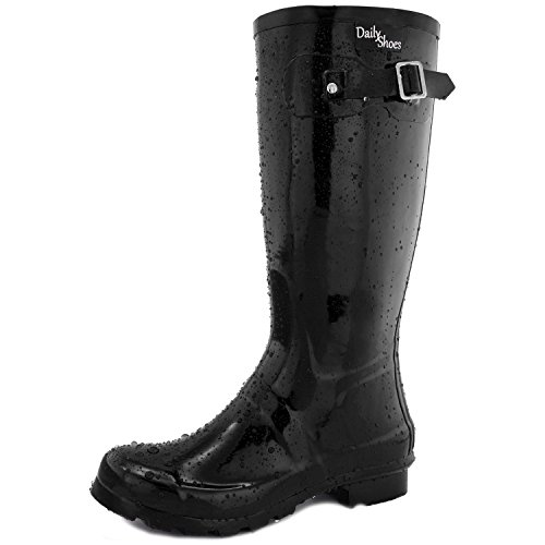 DailyShoes Women's Mid Calf Knee High Hunter Rain Round Toe Rainboots