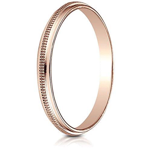 14k Rose Gold 2mm High Polished Milgrain Center Design Band Size 6