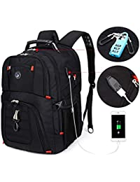 Extra Large Durable 50L Travel Laptop Backpack School Backpack Travel Backpack College Bookbag with USB Charging Port fit 17 Inch Laptops for Men Women Including Lock Black