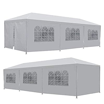 LEMY 10 X 30 Outdoor Wedding Party Tent Camping Shelter Gazebo Canopy with Removable Sidewalls Easy Set Gazebo BBQ Pavilion Canopy Cater Events: Sports & Outdoors