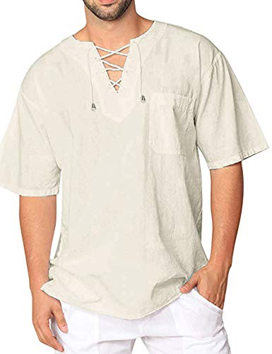 COOFANDY Mens Fashion T Shirt Cotton Tee Hippie Shirts Short Sleeve Beach Yoga Top