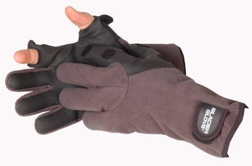 Glacier Glove Windproof Fleece Hybrid Slit Finger Glove, Gray/Black, Large