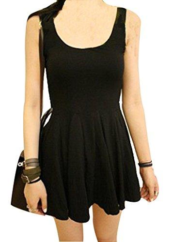 Women's Summer Slim Candy Modal Double U-neck Vest Bottoming Pleat Dress