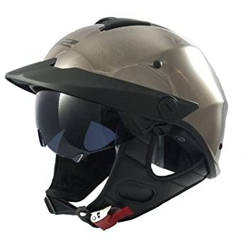 LS2 Helmets Rebellion Solid Unisex-Adult Half-Size-Helmet-Style Helmet with Sun Shield (Black Chrome, Large)