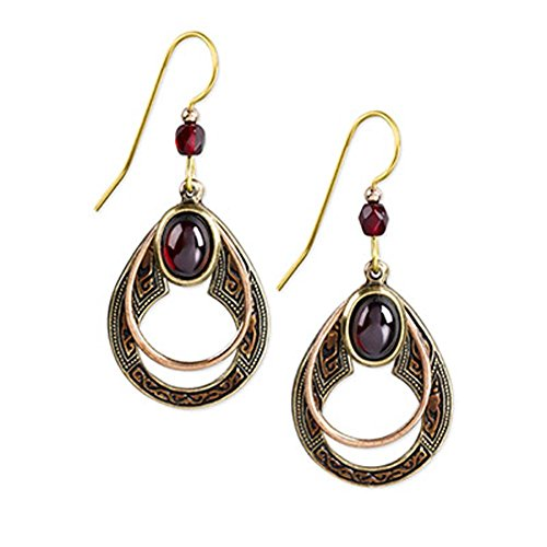 Silver Forest Copper and Goldtone Open Teardrop with Red Wine-color Stone Dangle (Color Stones Dangle Earrings)