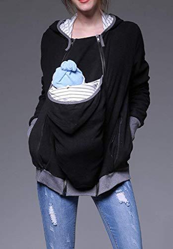 Sciolto Relaxed Cappuccio Elegante Stlie Autunno Lunga Schwarz Premaman Casuale Confortevole Donna A Madre Con Manica Giacca Outerwear Primaverile Chiusura Unique Cerniera Fashion Tasche F07Oqp