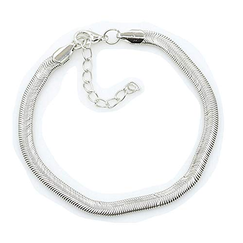 palettei Fashion Jewelry Silver Flat Soft Snake Bone Bracelets Bangle Women Men Cuff Chain Anklet (Silver)