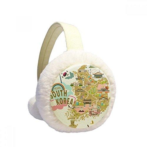 South Korea Map Love Travel Winter Earmuffs Ear Warmers Faux Fur Foldable Plush Outdoor Gift by DIYthinker (Image #4)