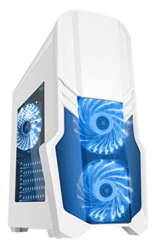 CiT G Force Gaming Case with 2 RGB Front Fans, Rear Fan, Side Window and Remote Control - White