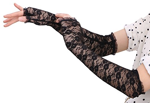 AbbyLexi Evening Party Wedding Fingerless Elbow Flowers Lace Gloves, Long Black