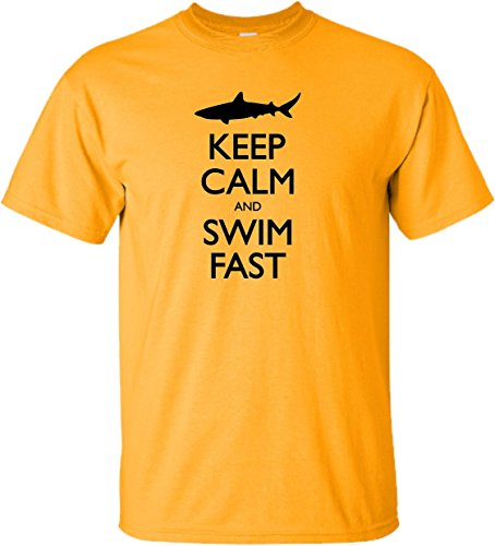 YL 14-16 Gold Youth Keep Calm and Swim Fast Funny Swimming Shark Lovers T-Shirt (Keep Calm And Go For The Gold)