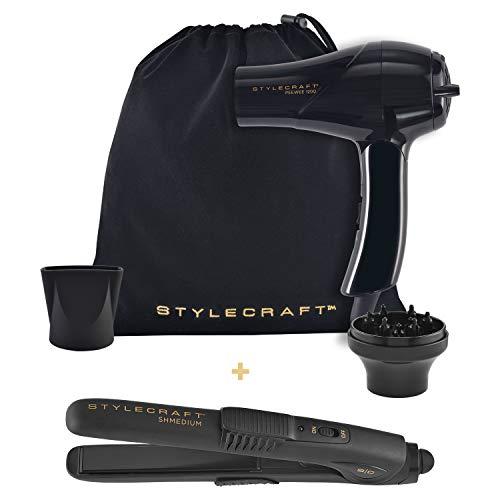 StyleCraft PeeWee Travel Hair Dryer with Shmedium Travel Flat Iron Combo Black (Best Affordable Hair Dryer)