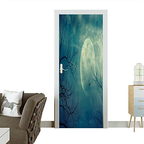 Door Sticker Wall Decals Halloween with Full Moon in Sky and Dead Tree Branches Evil Haunted Easy to Peel and StickW30 x H80 INCH