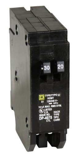 Amp Tandem Circuit Breaker - Square D by Schneider Electric HOMT3020 Homeline 1-30-Amp 1-20-Amp Single-Pole Tandem Circuit Breaker