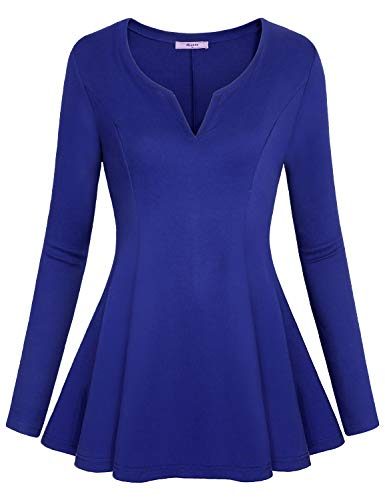 V-neck Waist Empire Jersey (Miusey Work Tops for Women,Misses Vneck Long Sleeve Dressy Tops Jersey Lady Office Clothes Trendy Peplum Solid Empire Waist Elastic Flounce Flattering Formal Fall Clothing Blue XL)