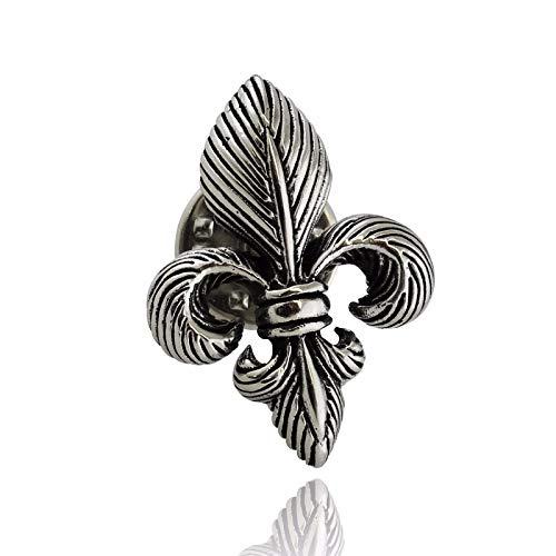 Fleur de Lis Lapel Pin - 925 Sterling Silver 3D Brooch Orleans French - Jewelry Accessories Key Chain Bracelets Crafting Bracelet Necklace Pendants ()