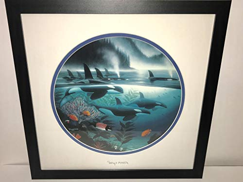 by Wyland Double Matted Silver Foil Stamp Orca Whales Framed in Black
