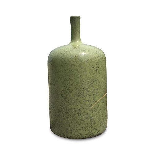 Whole House Worlds The Beach Chic Bud Vase, Pale Green Glaze, Rustic Crackle Surface, Terracotta Undertones, Pencil Neck, Porcelain, 9 1/4 Inches Tall (Dresser Rustic Green)