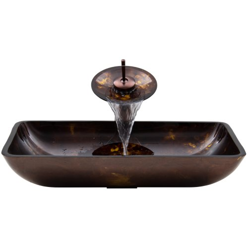 VIGO Rectangular Brown and Gold Fusion Glass Vessel Bathroom Sink and Waterfall Faucet with Pop Up, Oil Rubbed (Crystal Glass Lavatory Sink)
