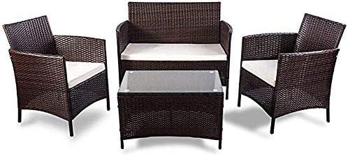Amazon.com : SILAMI 4 PC Rattan Patio Furniture Sofa Set ...