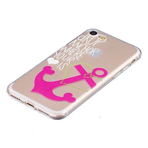 Voguecase® für Apple iPhone 7 hülle, Schutzhülle / Case / Cover / Hülle / TPU Gel Skin (Pink Anchors) + Gratis Universal Eingabestift