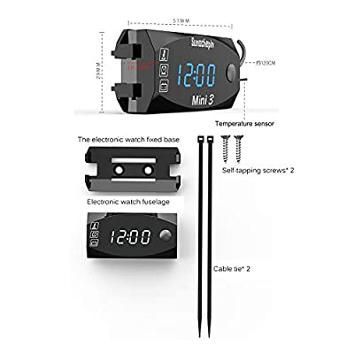 Motorcycle Digital Voltmeter 12V, 3 in 1Electronic Clock Thermometer with LCD Display, IP67 Waterproof Indicator Gauge Panel Meter: Automotive