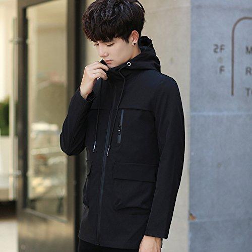 Giovani Lunga Giacche Uomini Nero 4xl Coreana Solido Versione cap Autunno Giacca Uomo Colore 6tqFw