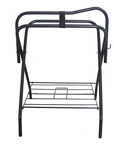 Horse Saddle Rack Stand Folding Storage Metal Black Saddle Tack Stable
