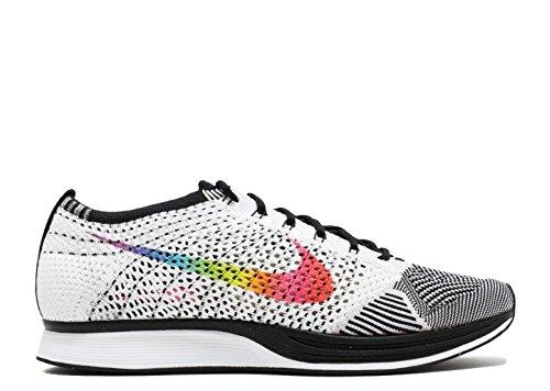 Nike Mens Flyknit Racer Betrue, Bianco / Multicolore-nero Bianco / Multi-colore-nero