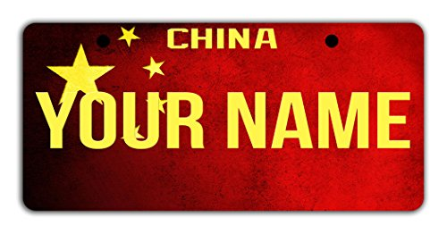 BleuReign(TM Personalized Custom Name License China Flag Plate Bicycle Bike Moped Golf Cart 3