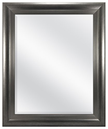 Glass Pewter Mirror - MCS 22 x 28 inch Beveled Wall Mirror, Two-Tone Pewter Finish