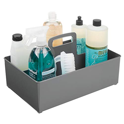 mDesign Plastic Portable Storage Organizer Caddy Tote, Divided Bin, Handle for Bathroom, Kitchen Laundry/Utility Closet - Holds Cleaning Supplies, Window Cleaner, Dust Cloths - Large - Charcoal ()