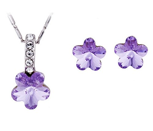 Swarvoski Crystal Elements Purple Flower Jewelry Sets Earrings And (Flower Dangling Necklace Earrings)