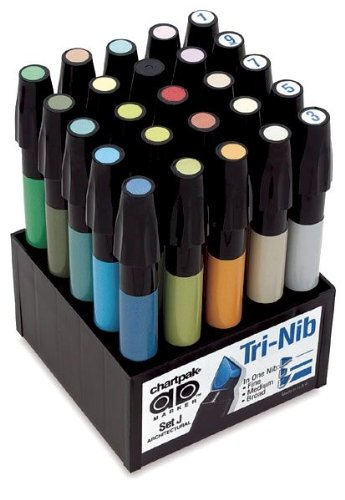 Tri-Nibbed Architectural Color Permanent Marker Set - 25 Count by Alvin and Company