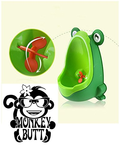 Potty Monkey - Boys Urinal Toddler Toilet Training Child Potty Trainer Hangs on wall in bathroom Green Fun Aiming Target Portable includes suction cups