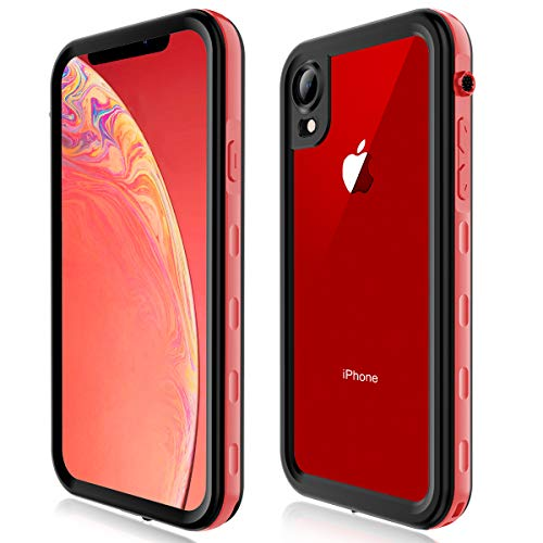(Case for iPhone XR, Full-Body Protective Slim Cases with Built-in Screen Protector Waterproof Shockproof Snowproof Clear Cover Case for iPhone XR (6.1 Inch) (Red))