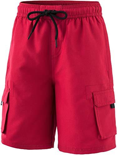 TSLA Boy's Swimtrunks Quick Dry Board Shorts Water Beach Board Shorts Bottom, Solid(bsb40) - Red, Medium (10/12)