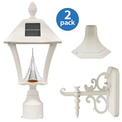 Gama Sonic Baytown Solar Outdoor LED Light Fixture, Pole/Post/Wall Mount Kit, White Finish #GS-106FPW-W - 2 - Stores Baytown