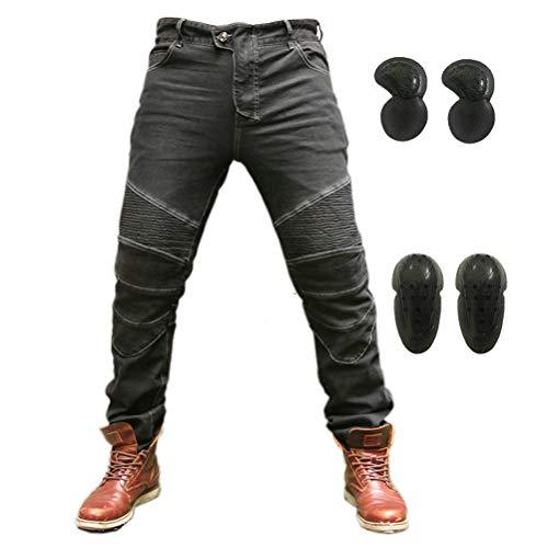 Motorcycle Riding Protective Pants Armor Motocross Racing Denim Jeans Upgrade Knee Hip Protective Pads (Black, XXXL)