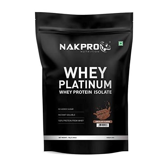 NAKPRO PLATINUM 100% Whey Protein Isolate 1 kg Chocolate, 28g Protein, 6.4 BCAA & 4.9g Glutamine, Whey Protein Supplement Powder