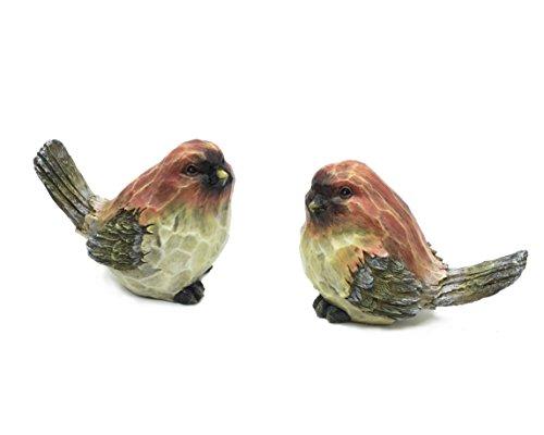 Love Birds Figurine - FICITI Bird Figurines with Wood Carved Sculpted Design - Love Birds - Assorted Set of 2 (4
