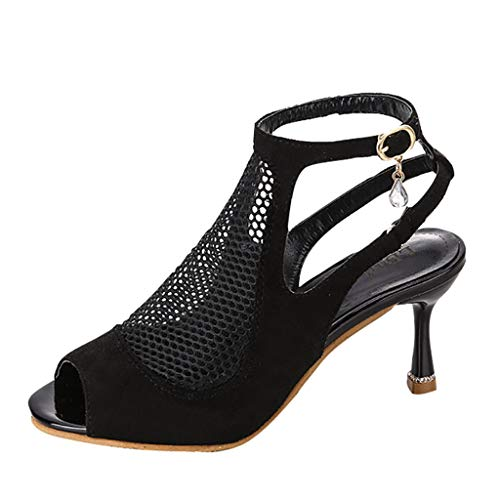 Mesh Sandals for Women-Summer Sexy Hollow Out Thin Heel Shoes Buckle Peep Toe Party Wedding Shoes by NEARTIME
