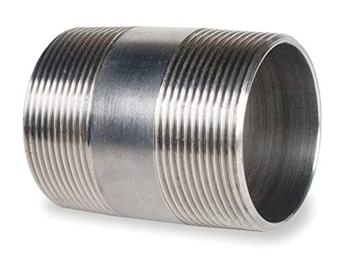 """CAI Approved 2-1/2"""" x 4"""" 316 Stainless Steel Nipple, Pipe Schedule 40, Threaded on Both Ends"""