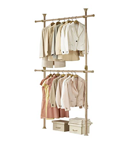 PRINCE HANGER, Premium Wood 2tier Hanger, Wood Color, Steel, Clothing Rack, Sturdy, PHUS-1021