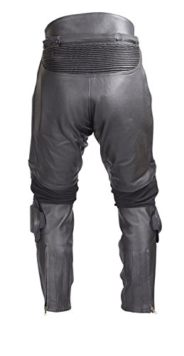 Mens Heavy Duty Motorcycle Black Leather Race Pants with Slider and Armor PT52