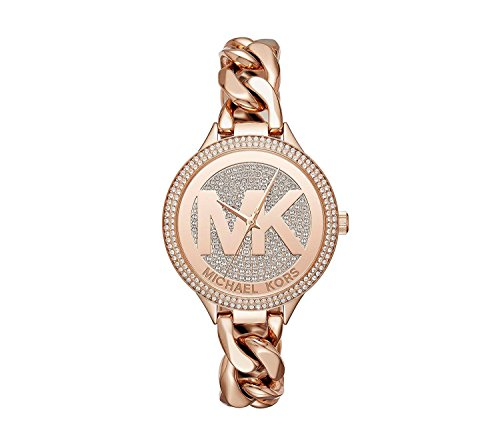 Michael Kors Women's 38mm Rose Goldtone Pav= Slim Runway Chain Link Watch
