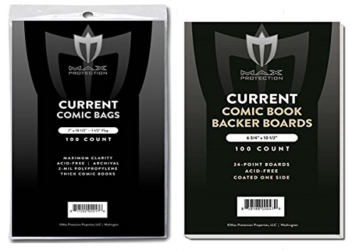 25 EACH MAX CURRENT Thick regular COMIC BOOK BAGS AND BOARDS PREASSEMBLED - FAST SHIP by Max Protection